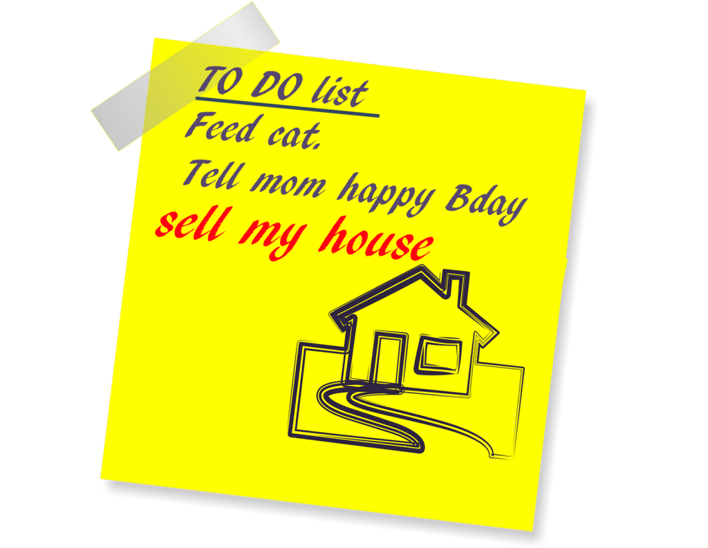 Yellow note to do list with sell my house tampa text